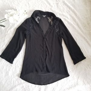 Sheer Lace Button Down